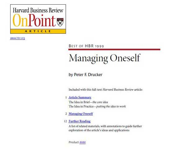 Peter F. Drucker - Managing Oneself - Best of HBR 1999