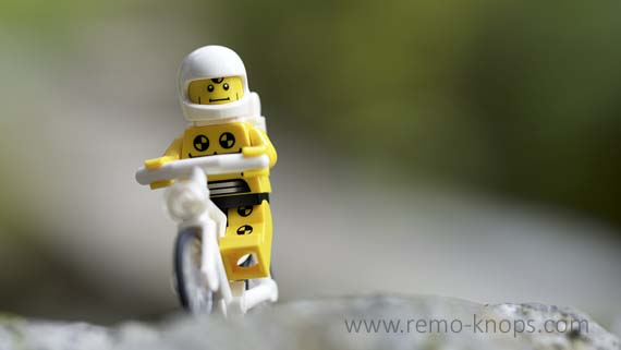 Lego Crash Test Dummy on Bike